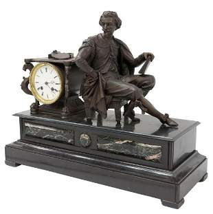 FRENCH MARBLE & SLATE FIGURAL MANTEL CLOCK