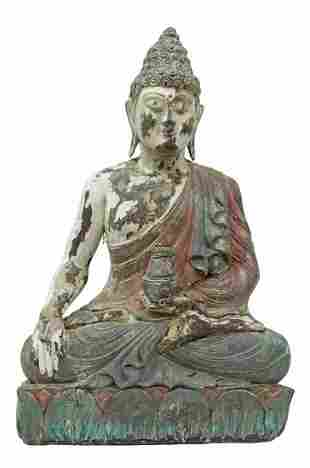 SOUTHEAST ASIAN CARVED & PAINTED MEDICINE BUDDHA
