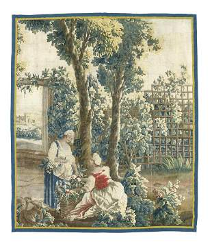 ANTIQUE FRENCH HAND-WOVEN FRUIT PICKERS TAPESTRY