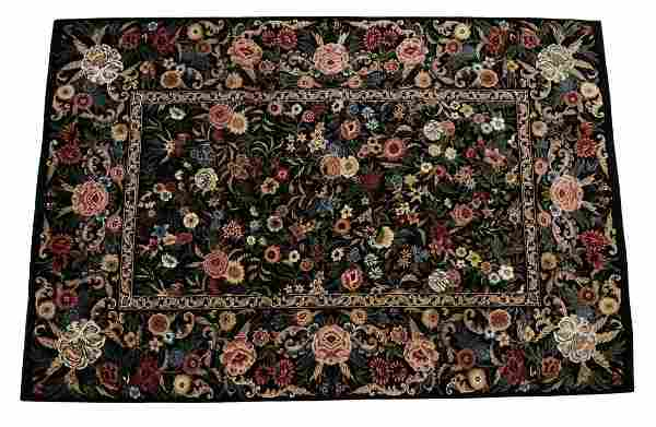 """HAND-TIED FLORAL RUG, 8'10"""" X 6'1"""""""