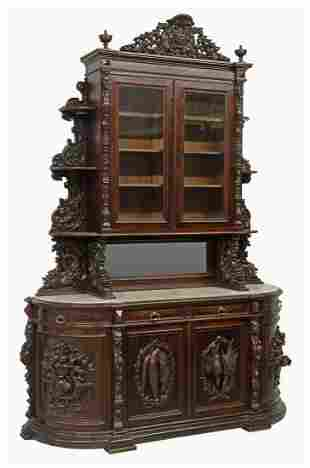 MONUMENTAL FRENCH CARVED MAHOGANY HUNT SIDEBOARD