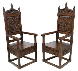 (2) FRENCH GOTHIC REVIVAL CARVED OAK ARMCHAIRS