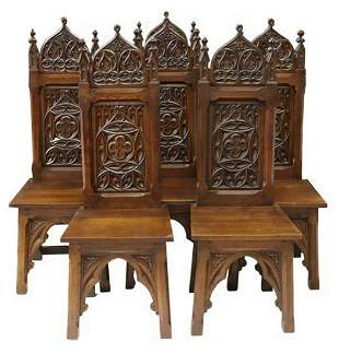 (6) FRENCH GOTHIC REVIVAL CARVED OAK SIDE CHAIRS