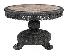 """FINE CHINESE MARBLE-TOP CARVED ROSEWOOD TABLE 52""""D"""