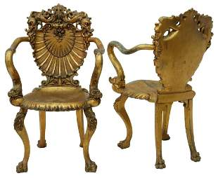 (2) VENETIAN GILTWOOD SHELL-BACK GROTTO CHAIRS