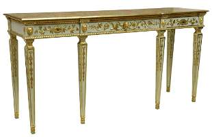 LOUIS XVI STYLE PAINTED FAUX MARBLE CONSOLE TABLE