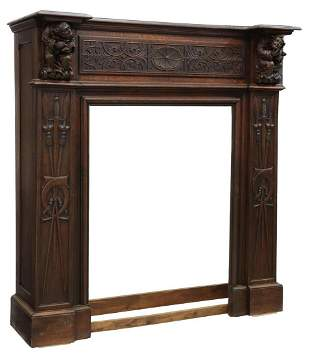 FRENCH GOTHIC REVIVAL OAK FIREPLACE SURROUND
