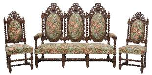 (3) FRENCH LOUIS XIII STYLE CARVED SETTEE & CHAIRS