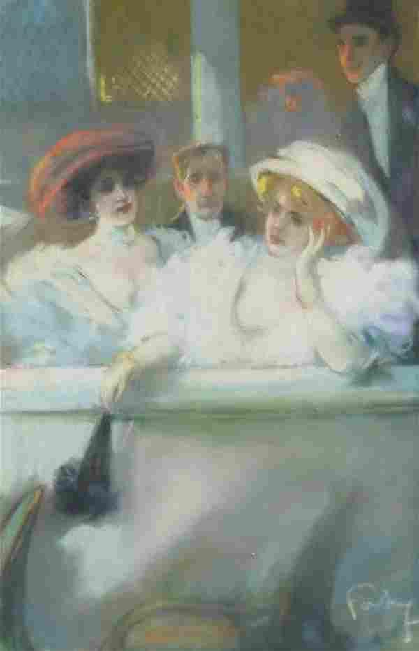 LOUIS FORTUNEY (1875-1951) BELLE EPOQUE PASTEL