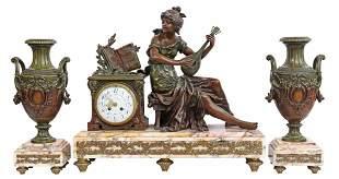 (3) FRENCH FIGURAL MANTEL CLOCK & GARNITURES