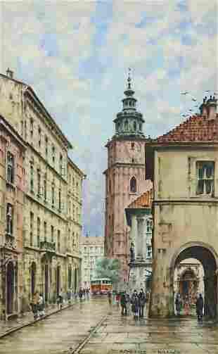 STANISLAW OKULICZ (B.1909) 'KRAKOW' OIL PAINTING