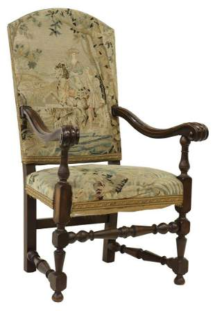 FRENCH LOUIS XIII STYLE TAPESTRY FAUTEUIL