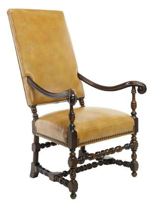 BAROQUE STYLE HIGHBACK LEATHER ARMCHAIR