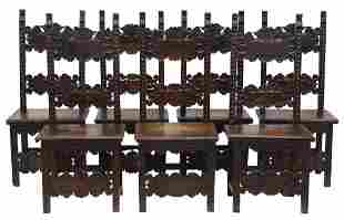 (7) SPANISH BAROQUE STYLE CARVED WALNUT CHAIRS
