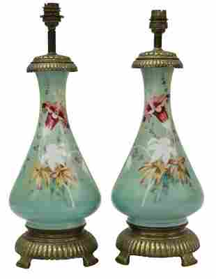 (2) FRENCH PORCELAIN CONVERTED OIL LAMPS