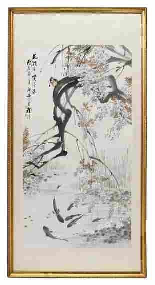 CHENG ZHANG (ATTRIB.) KINGFISHER SCROLL PAINTING