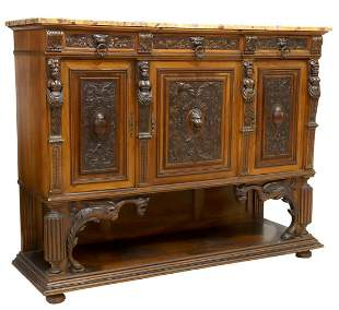 FRENCH RENAISSANCE REVIVAL MARBLE-TOP SIDEBOARD