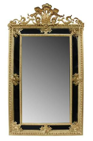 LARGE FRENCH LOUIS XV STYLE GILTWOOD MIRROR