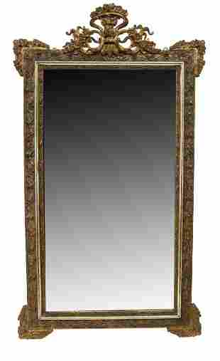 """FRENCH LOUIS XVI STYLE GILTWOOD WALL MIRROR, 64""""H"""