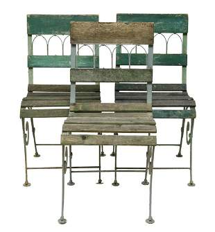 (3) FRENCH PAINTED IRON BISTRO GARDEN CHAIRS