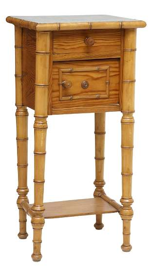 FRENCH MARBLE-TOP PINE & FAUX BAMBOO NIGHTSTAND