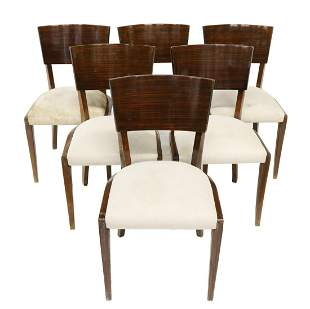 (6) FRENCH ART DECO ROSEWOOD DINING CHAIRS