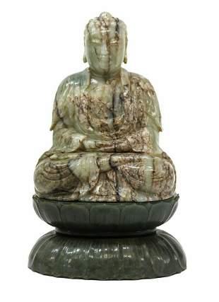 CHINESE CARVED JADE SEATED MEDITATION BUDDHA