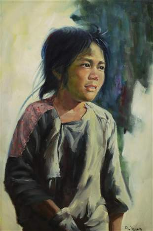 S. LEONG OIL PAINTING PORTRAIT OF A CHILD