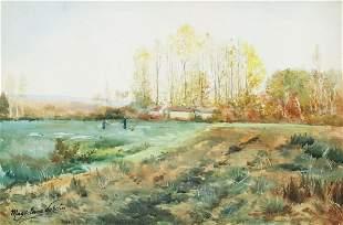 MAGDELEINE POPELIN (B.1869) WATERCOLOR LANDSCAPE