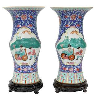 (2) CHINESE BLUE-GROUND FAMILLE ROSE VASES