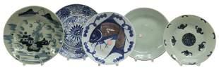 (5) CHINESE BLUE & WHITE PORCELAIN PLATES