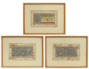 (3) FRAMED ILLUMINATED MANUSCRIPT LEAVES, INDIA