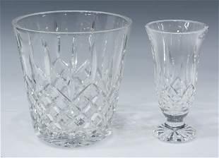 (2) WATERFORD 'LISMORE' CRYSTAL VASE & ICE BUCKET