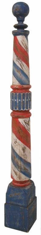LARGE AMERICAN PAINTED TURNED WOOD BARBER POLE