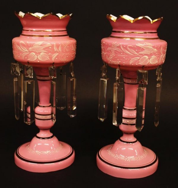 VICTORIAN PINK CASED GLASS SONGBIRD MOTIF LUSTRES