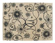 """HAND-TIED FLORAL MOTIF RUG, INDIA, 7'10"""" X 5'5"""""""