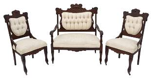 (3) AMERICAN VICTORIAN UPHOLSTERED PARLOR SET
