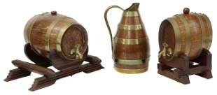 (3) FRENCH BRASS BANDED OAK WINE CASKS & PITCHER
