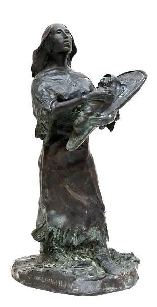 NANCY McLAUGHLIN (D.1985) 'INDIAN MADONNA' BRONZE