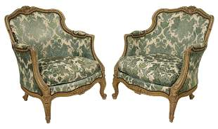 (2) FRENCH LOUIS XV STYLE PAINTED BERGERES