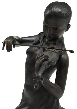 PATINATED BRONZE SCULPTURE GIRL PLAYING VIOLIN