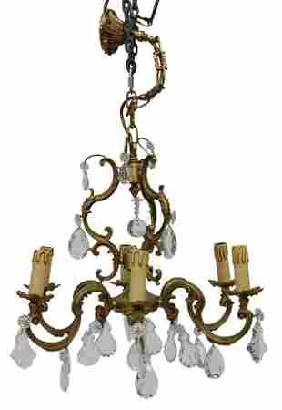 FRENCH LOUIS XV STYLE BRONZE & CRYSTAL CHANDELIER