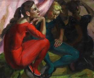 JUAN MINGORANCE (1906-1979) DANCERS OIL PAINTING