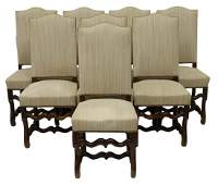(8) FRENCH LOUIS XIV STYLE WALNUT DINING CHAIRS