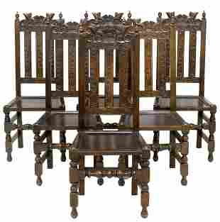 (6) ENGLISH CARVED OAK DINING SIDE CHAIRS