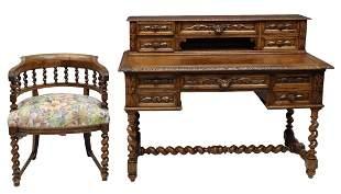(2) FRENCH HENRI II STYLE CARVED OAK DESK & CHAIR