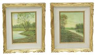(2) SIGNED OIL ON BOARD PAINTINGS RIVER LANDSCAPES