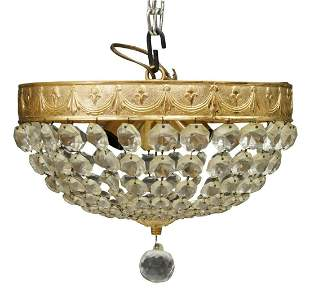 EMPIRE STYLE CEILING MOUNT THREE-LIGHT CHANDELIER