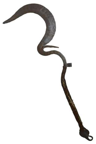 AFRICAN HAND-FORGED STEEL CEREMONIAL KNIFE SWORD