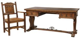 (2) FRENCH PROVINCIAL CARVED OAK DESK & ARMCHAIR